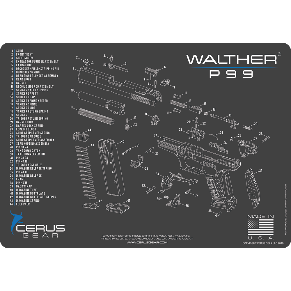 Walther® P99® Schematic ProMat - SAME DAY SHIPPING