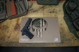REAPER SCULL USA AMERICAN FLAG GUN CLEANING BENCH MAT COYOTE TAN