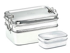 Stainless Steel Large Double-Layer Rectangular Lunchbox 18x13x9