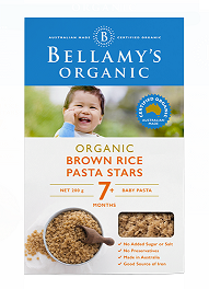 Bellamy's Certified Organic Brown Rice Pasta Stars