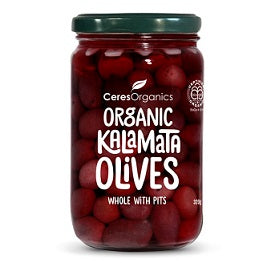 Ceres Organics  Kalamata Olives Whole w Pits 315gm - Special 10% off