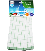 e-cloth Classic Check Tea Towel (Green)