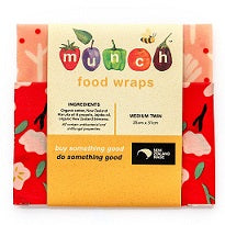 Organic Munch Beeswax Food Wraps  Med Twin - Red Floral