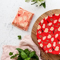 Organic Munch Beeswax Food Wraps  Small Twin - Red Floral