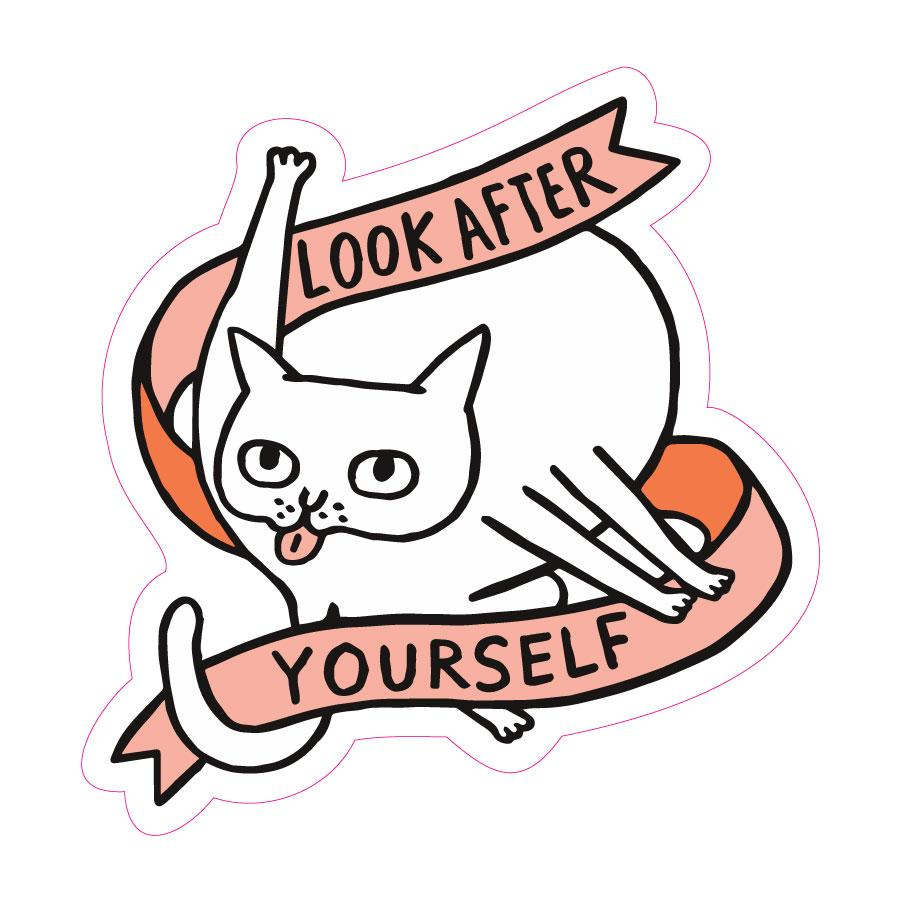 Look After Yourself Cat Big Sticker