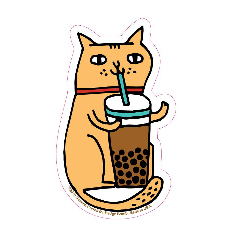 Bubble Tea Cat Big Sticker