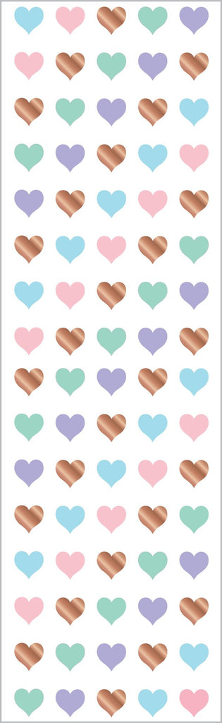 Rose Gold Micro Hearts Stickers