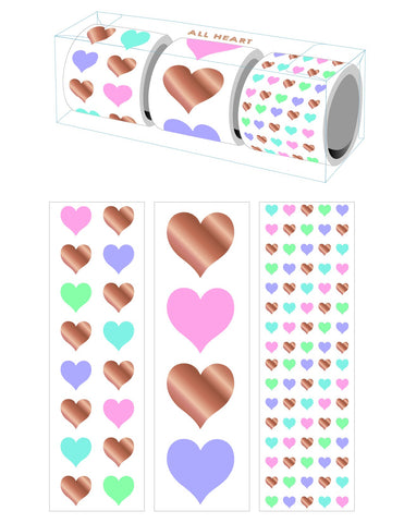 All Heart 3 Roll Sticker Gift Boxes