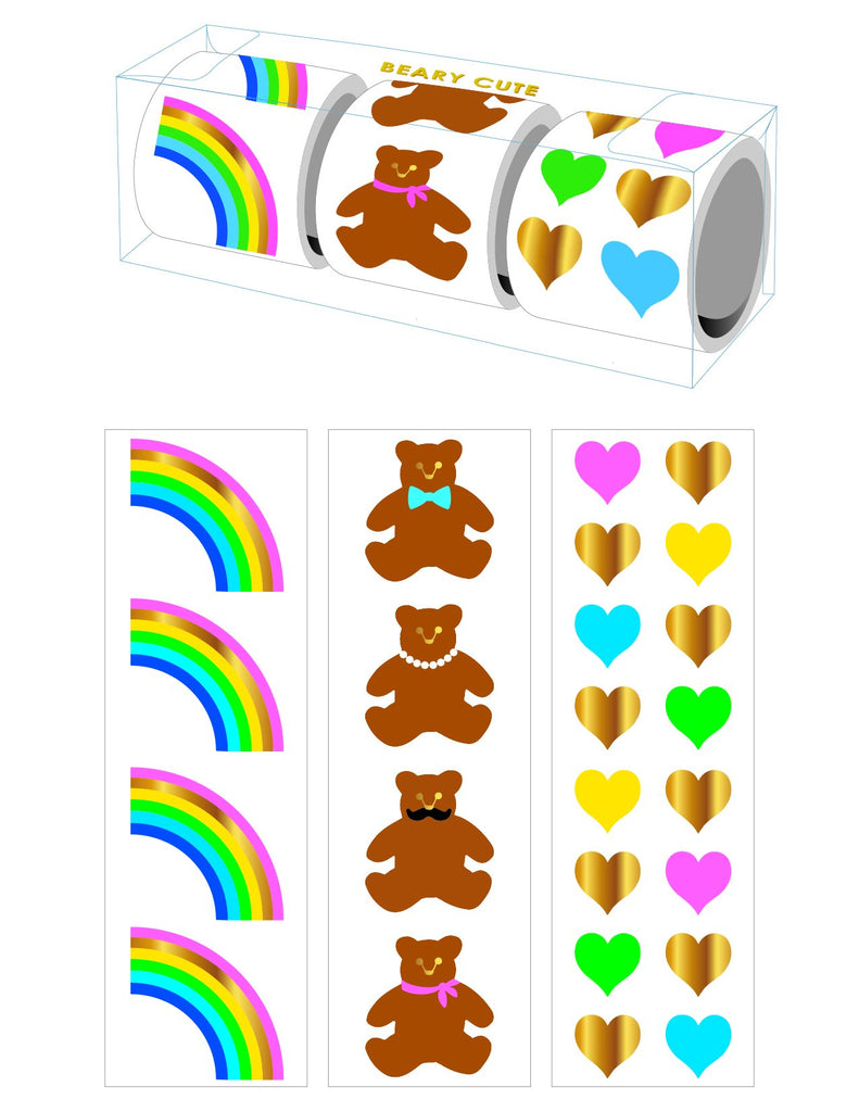 Beary Cute 3 Roll Sticker Gift Boxes