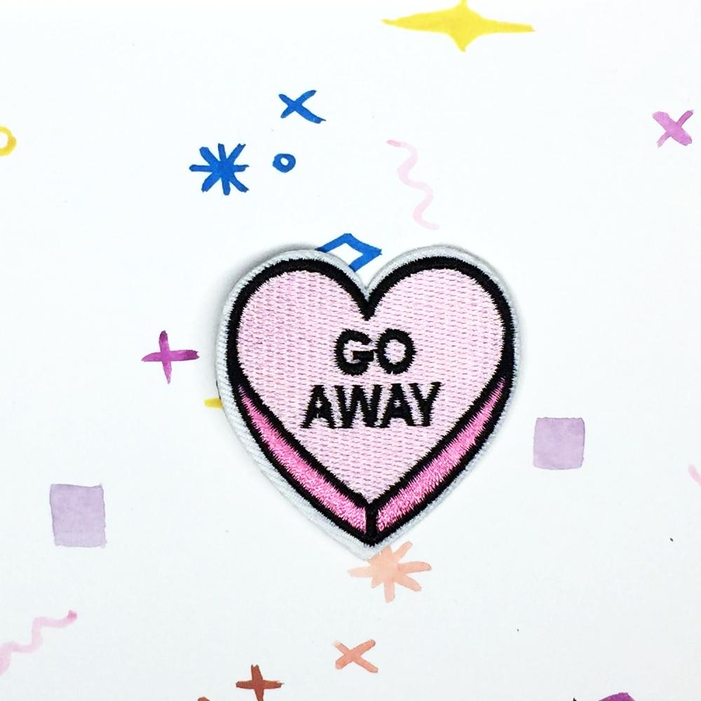 Go Away Candy Heart Patch