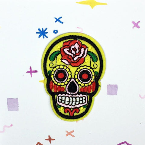 Yellow Sugar Skull Patch
