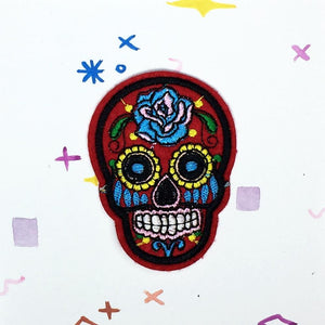 Red Sugar Skull Patch
