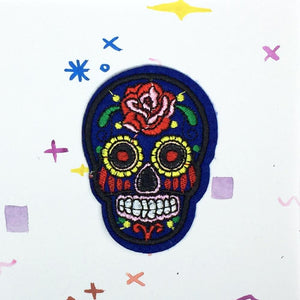 Blue Sugar Skull Patch