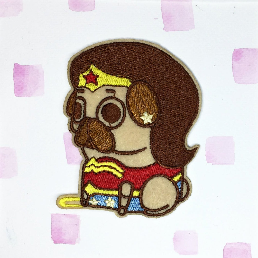 Wonder Woman Pug Patch