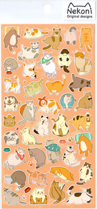 Nekoni Tabby Cats Sticker Sheet