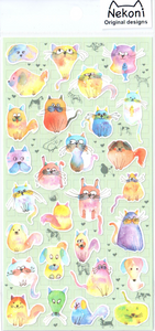 Nekoni Watercolor Cats Sticker Sheet