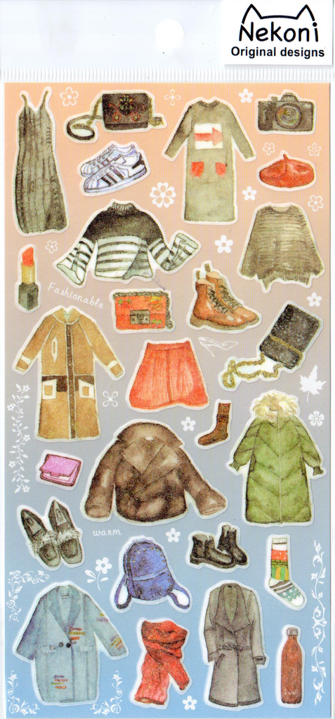 Nekoni Winter Clothes Sticker Sheet