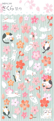 Nekoni Sakura Cats Sticker Sheet