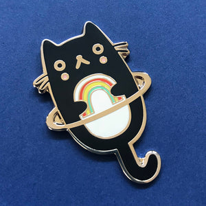 Rainbow Cat Planet Enamel Pin