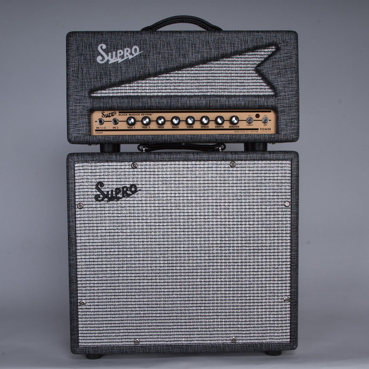Supro Black Magick Reverb Stack Head and Cabinet 1X12