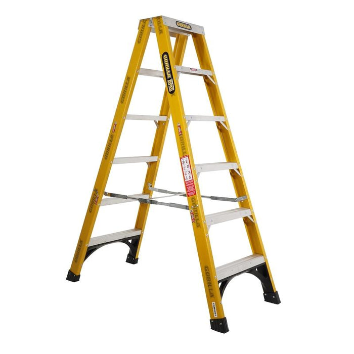 Gorilla 1.8m 150kg Industrial Fibreglass Double Sided Step Ladder FSM006-I