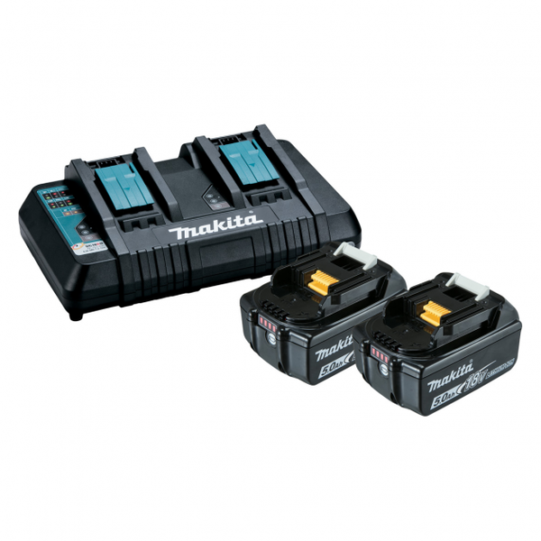 Makita Dual Battery Charger with 2x 5Ah Batteries B-90233