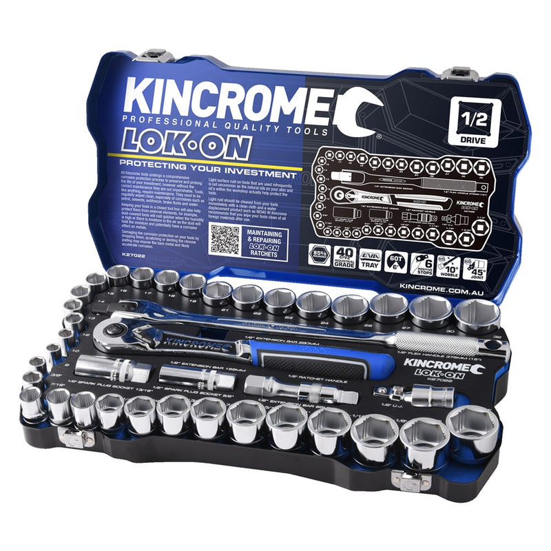 "Kincrome LOK-ON Socket Set 41 Piece 1/2"" Drive K27022"