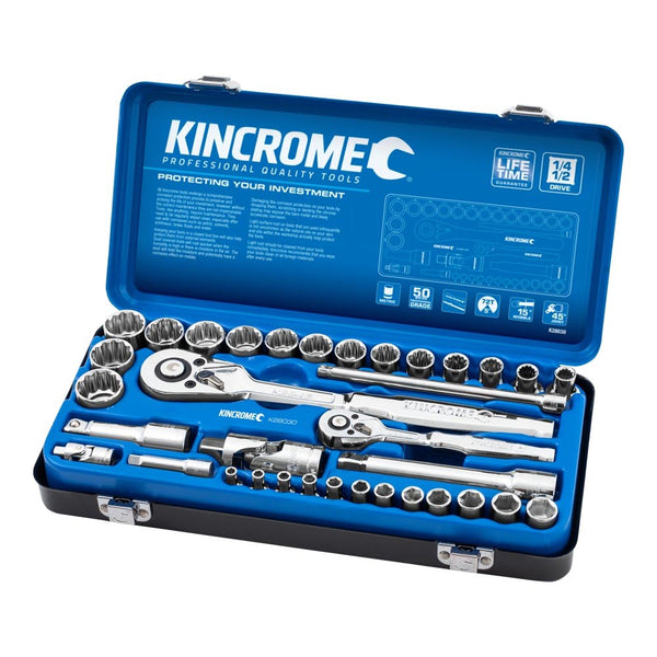 "Kincrome 35 Piece Socket Set 1/4"" & 1/2"" Drive - Metric K28030"