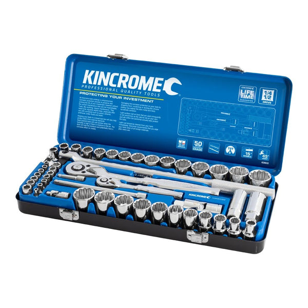 "Kincrome Socket Set 52 Piece 1/4"" & 1/2"" Drive - Metric & Imperial K28032"