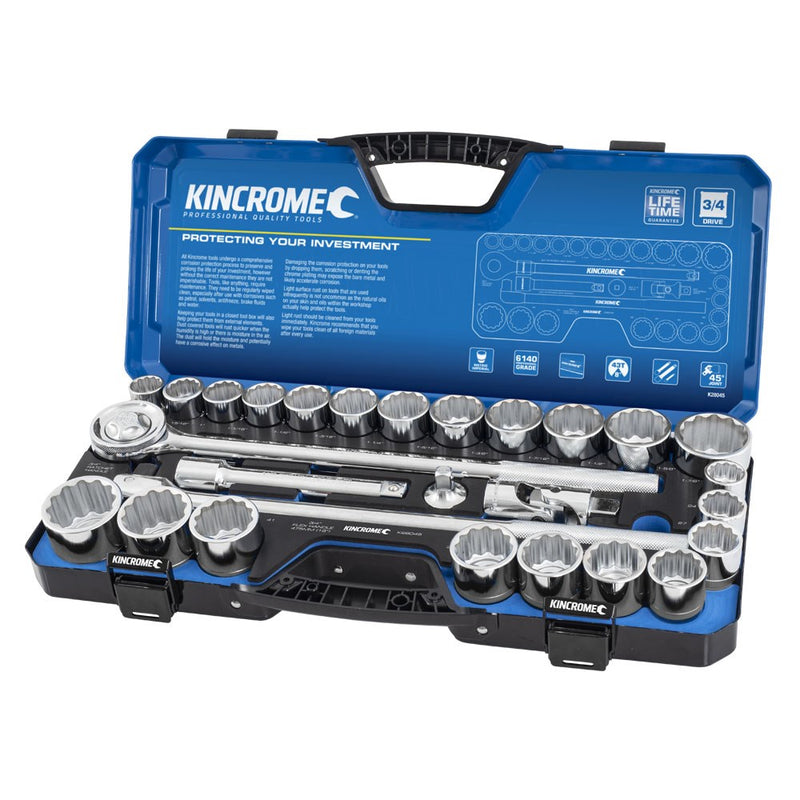 "Kincrome 28 Piece Socket Set 3/4"" Drive - Metric & Imperial K28045"