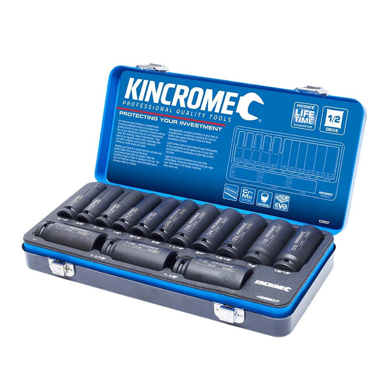"Kincrome 14 Piece 1/2"" Drive Deep Impact Socket Set - Imperial K28207"