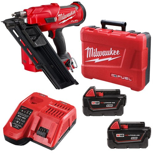 Milwaukee M18 FUEL 3.0AH 30-34 Degree Frame Nailer Kit M18FFN-302C
