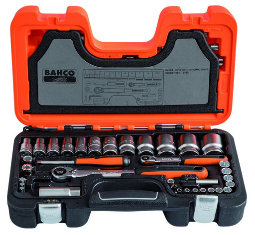 "Bahco 56 Pieces Socket & Bit Set 1/2"" & 1/4"" Hexagon Drive S560"