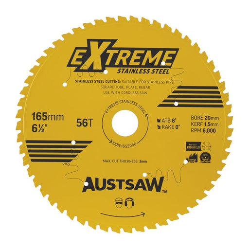 Austsaw Extreme Stainless Steel Blade 165mm x 20 x 56T SSBE1652056