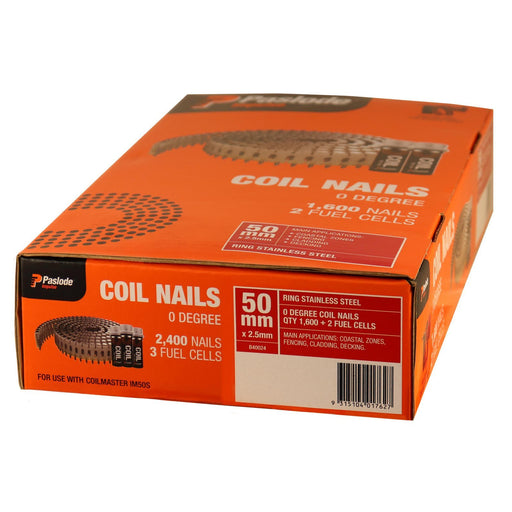 Paslode 50mm x 2.5mm Ring Stainless Steel Coil Nails - Suits Coil Master IM50S B40024