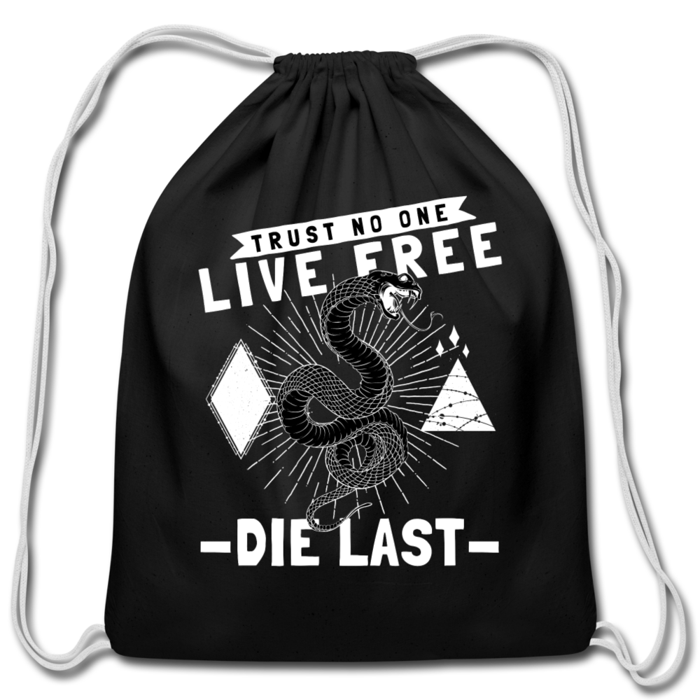 Live Free Cotton Drawstring Bag - black