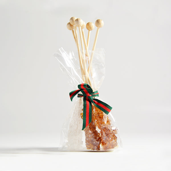 Candysticks with ribbon 3xwhite, 3xbrown, accessories - GROENSBJERG TEHANDEL