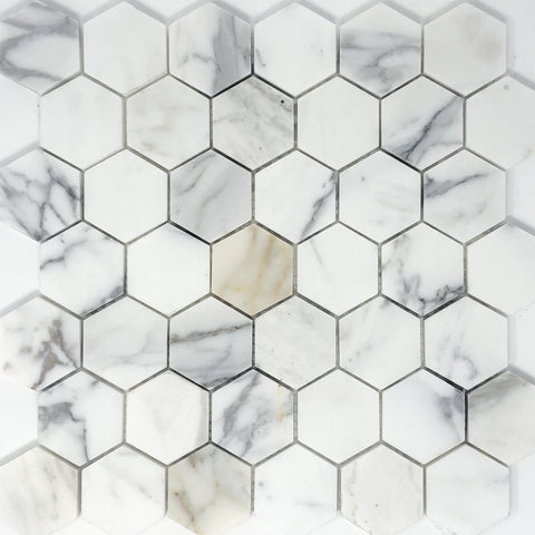 "Calacatta Gold 2"" Hexagon Marble Mosaic Polished/Honed"