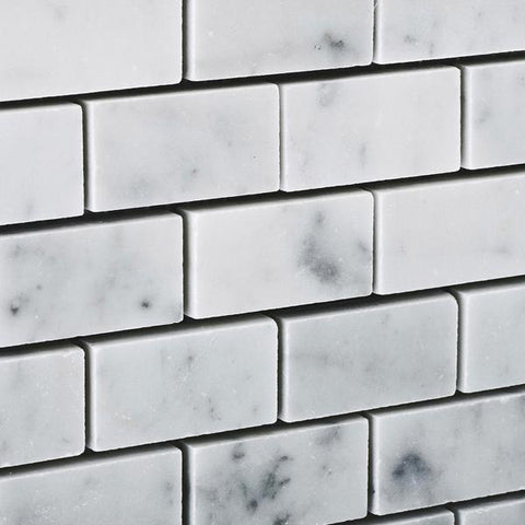 Carrara White Marble Baby Brick Mosaic Polished/Honed Stone Tilezz