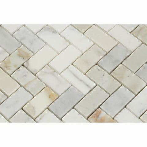 Calacatta Gold Herringbone 1X2 Mosaic Polished/Honed Stone Tilezz