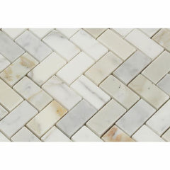 Calacatta Gold Marble 1X2 Herringbone Mosaic Polished/Honed