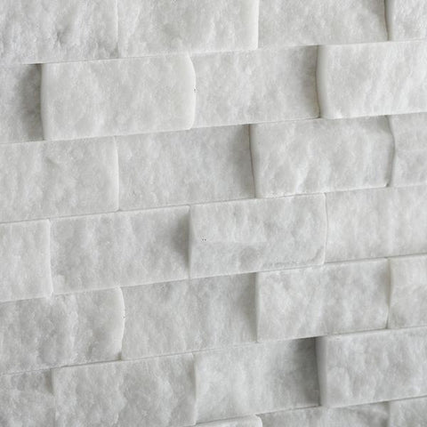 "1""x2"" White Italian, Bianco Carrara Marble Split-Faced Mosaic Tiles"
