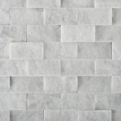 Carrara White Marble 1x2 Split-Faced Mosaic Tile