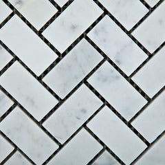 Carrara White Herringbone 1X2  Mosaic Polished/Honed