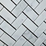 Load image into Gallery viewer, Carrara White Herringbone 1X2 Mosaic Polished/Honed Stone Tilezz