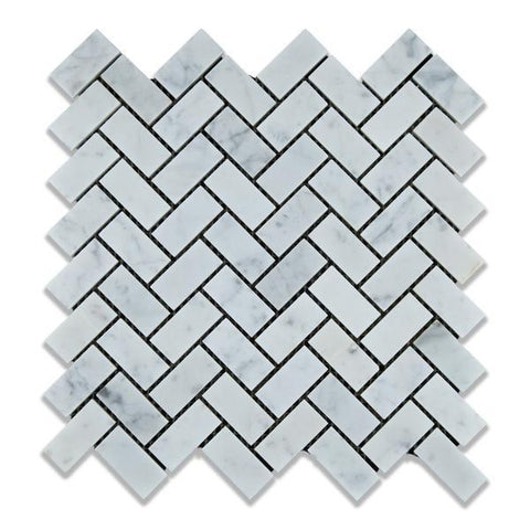 Carrara White Herringbone 1X2 Mosaic Polished/Honed Stone Tilezz