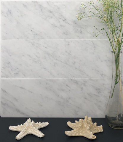 Carrara White 4x12 Subway Tile Polished/Honed