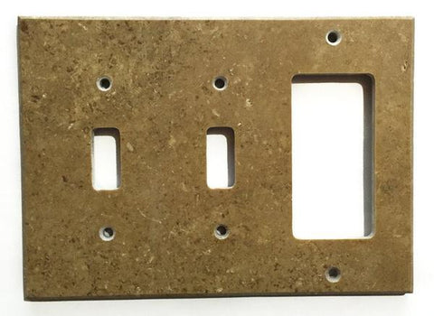 Noce Travertine Double Toggle Rocker Switch Wall Plate/ Outlet Cover Tilezz