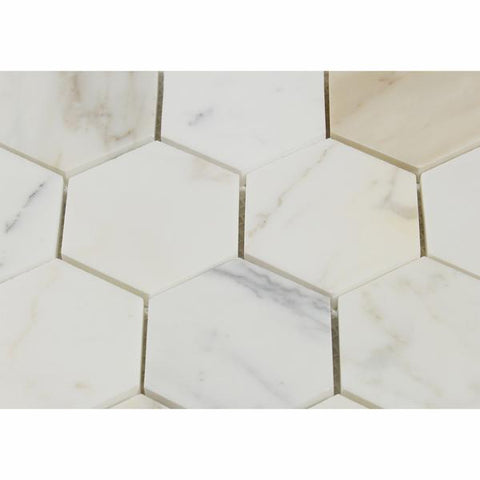 "3"" Calacatta Gold Hexagon Mosaic,Polished or Honed"