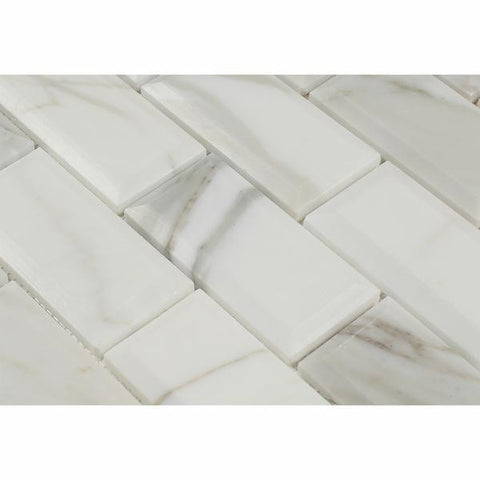 Calacatta Gold 2x4 Beveled Mosaic Polished /Honed